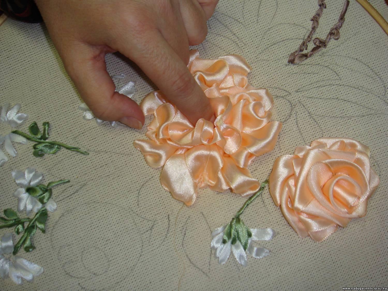 Вышивка лентами розы-мастер класс 52